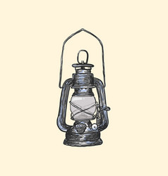 oil lamp vintage hand drawn lanterns vector image