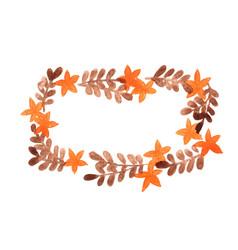 Orange flower and brown fern leaves frame vector