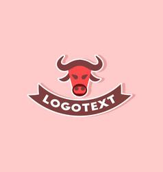 Paper sticker on stylish background bull logo vector