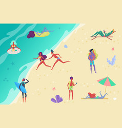 people at beach relaxing and performing outdoor vector image