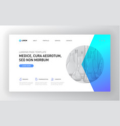 Pharmaceutical landing page template vector