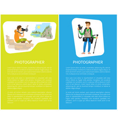 Photographers taking picture with photo equipment vector