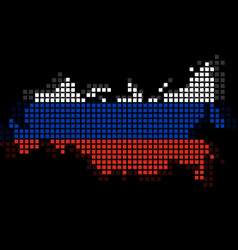 Pixel map of russia with the flag inside vector