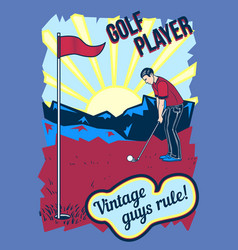 poster design with of golf player vector image