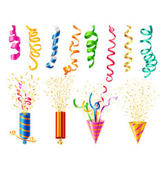 Realistic party popper set vector
