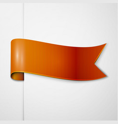 Realistic shiny orange ribbon isolated vector