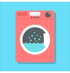 red washing machine in flat style vector image