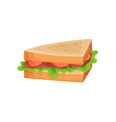 Sandwich with tomato ham slices and lettuce vector