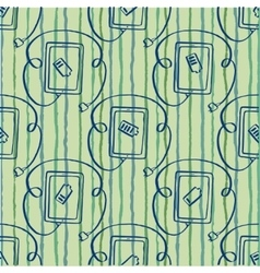 seamless pattern tablet with plug vector image