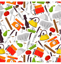 seamless pattern with cook supplies and food vector image