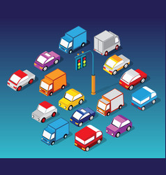 set cars and trucks vector image