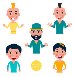 set of avatars characters with a different vector image