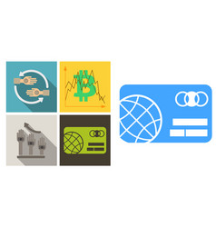 Set of economic icons included bitcoin in chart vector