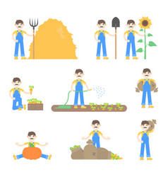 Set of farmers and gardeners vector