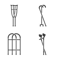 Set of four different icons crutches on vector