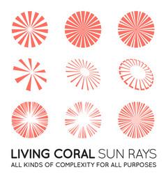set sunburst rays sun in trendy coral color vector image