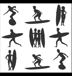 Set surfers silhouettes vector