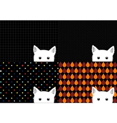 Set White Cat Background vector image
