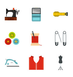 sewing equipment icons set flat style vector image