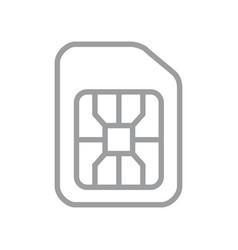 Sim card line icon mobile cellular phone card vector