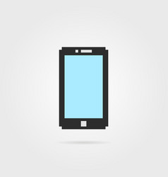 Simple pixel art phone with shadow vector