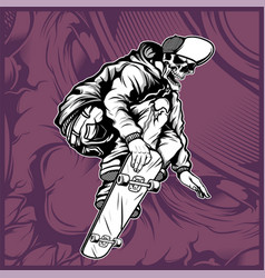 Skull skateboard hand drawing vector