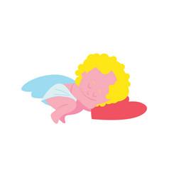 Sleeping funny cupid character isolated icon vector