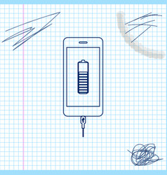 smartphone battery charge line sketch icon vector image