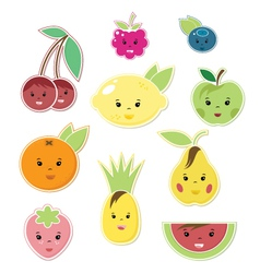 Smiley Faces Fruit Icons vector