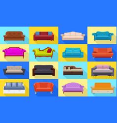 sofa icons set flat style vector image