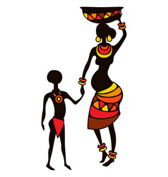 Stylized african pregnant woman vector