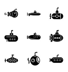 submarine watercraft icons set simple style vector image
