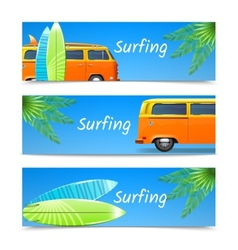 Surfing Banners Set vector image