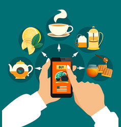 tea buying online composition vector image