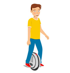 Teenager boy riding unicycle electric scooter vector