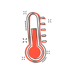 Thermometer icon in comic style goal sign vector