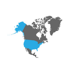 usa is highlighted in blue on the north america vector image
