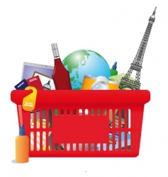 vacation shopping cart vector image