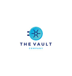 vault logo door icon vector image