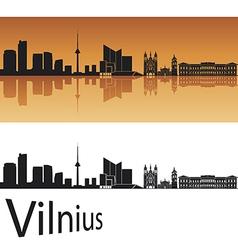 Vilnius skyline in orange background vector image