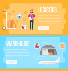 Warehouse logistics and management flyers vector
