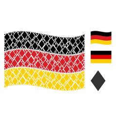 waving german flag pattern of filled rhombus icons vector image