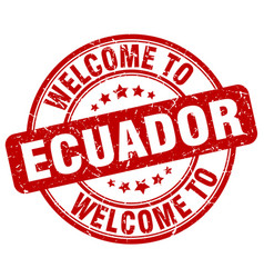 Welcome to ecuador red round vintage stamp vector