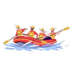 Whitewater rafting flat doodle people in raft vector