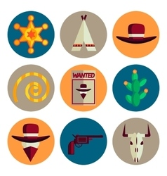 wild west flat icons set vector image