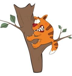 Cat on a tree Cartoon vector image vector image