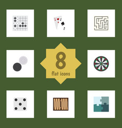 flat icon games set of dice arrow gomoku and vector image vector image