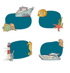 sketched sea stickers set vector image vector image