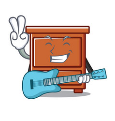 With guitar wooden drawer mascot cartoon vector