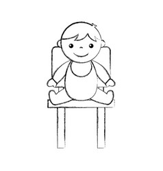 Cute boy baby sitting on chair avatar character vector